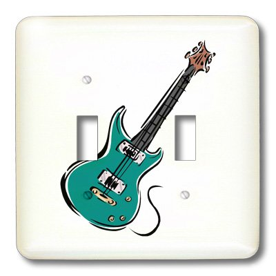 Lsp_164413_2 Susans Zoo Crew Music - Teal Electric Guitar Music Graphic - Light Switch Covers - Double Toggle Switch