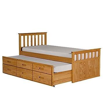 LPD Furniture pijamada camas individuales individual ropa debajo de la cama, en madera de pino