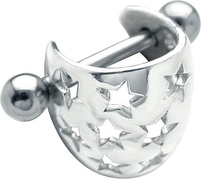 SOLID 14K White Gold STAR BRIGHT Ear Cuff - Cartilage