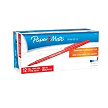 Paper Mate Write Bros. Stick Fine Point Ballpoint Pens, 12 Red Ink Pens (3371131)