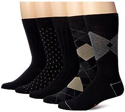 Dockers Men's 5 Pack Classics Dress Argyle Crew Socks, Black, 10-13 Sock/6-12 Shoe