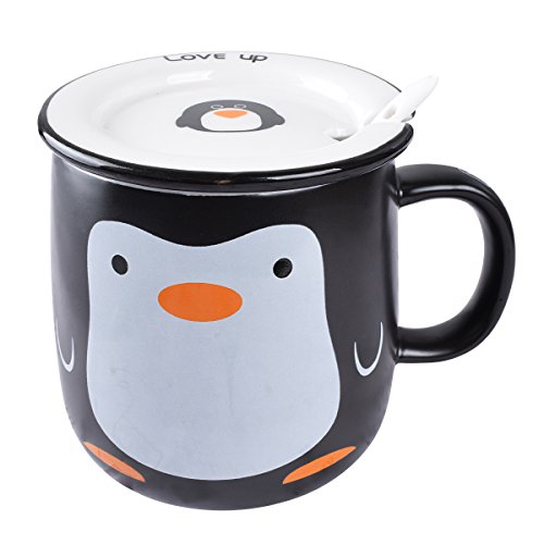 BUYNEED Lovely Cute Cartoon Animal Penguin Office Tea Coffee Milk Porcelain Ceramic Mug Cup with Lid and Spoon Christmas Birthday -11Oz Best Gift-Awesome