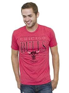 NBA Chicago Bulls Mens Vintage Heather Short Sleeve Crew T-Shirt, Licorice by Junk Food