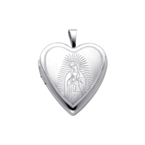 Sterling Silver Engraved Our Lady Guadalupe Heart Locket Pendant (0.8