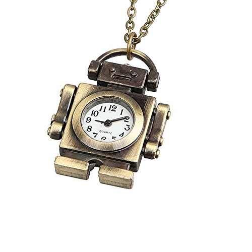 Enjoydeal Fashion Retro Pocket Watch Mini Robot Shaped Pendant Sweater Chain Necklace Quartz Clock (Robot Watch Vintage compare prices)