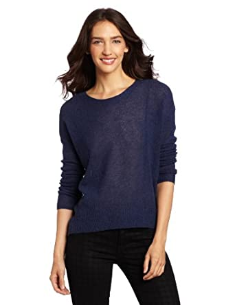 Design History Women's 100% Cashmere Hi Low Sweater, Blue Lapis Heather, X-Small