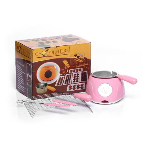 Foxnovo Creative Mini Electric Chocolate Melting Pot Chocolate Maker Chocolate Fondue Machine Tools Set (Pink)