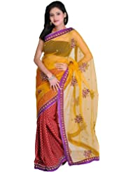 Exotic India Golden-Glow Wedding Sari With Woven Bootis And Emb - Multi-Coloured