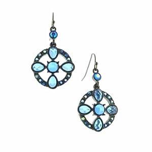 Aurora Borealis Capri Blue Flower Hoop Earrings