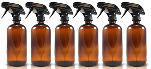 16oz Amber Glass Spray Bottles (6 Pack), W/ Heavy Duty Mist and Stream Sprayer (Black Light Hairspray)