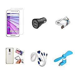 High Quality Combo of Moto G3 Temper Glass + Car Charger 2 USB + USB Data Cable + Attractive Back Cover (Transparent Back with Golden Border) + 4 in 1 USB Charging Cable