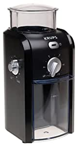 KRUPS GVX1-14 Coffee Grinder with Grid Size and Cup Selection and Stainless Steel Conical Burr, Black