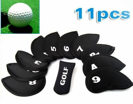 WMA 11 X Cool Iron Golf Club Head Cover Case Set Putter-Pack of 11 - 3,4,5,6,7,8,9,PW,SW,A & Golf Putter/Clubs head covers