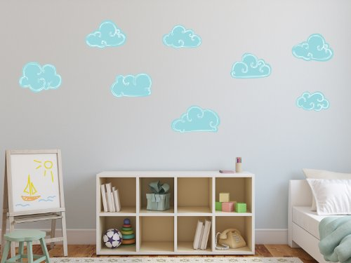 Sunny Decals Set of 8 Hand Drawn Clouds Reusable and Repositionable Wall Stickers, Light Blue