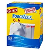 Glad ForceFlex Tall Kitchen Drawstring Bags, 13 Gallon (130 Bags)