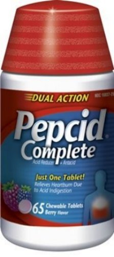 Pepcid Complete Acid Reducer + Antacid with Dual Action, Berry Blend, 65-Count Chewable Tablets