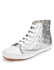 Lace Up High Top Stud Embellished Trainers