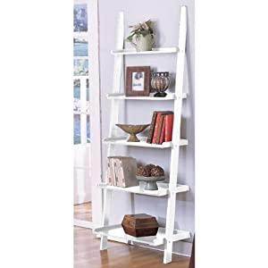 Amazon White 5 Tier Leaning Ladder Book Shelf