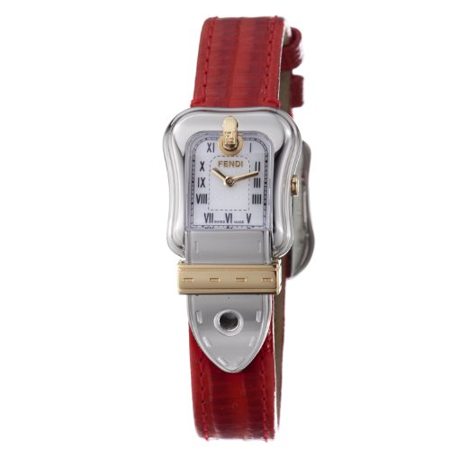 Fendi B.Fendi Red Lizard Strap Small Mother-of-Pearl Dial Women's Watch #F372247