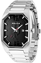 Police Octane Men's Watch with Black Dial Analogue Display and Silver Stainless Steel Bracelet 12895Ls/02M
