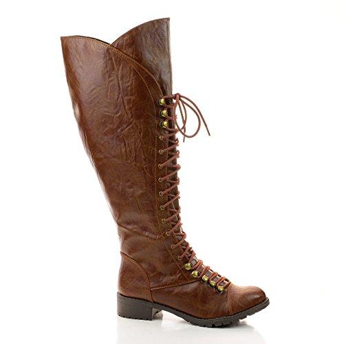 Cracked Vintage Military Combat Boots Lace Up Women Shoe Siz