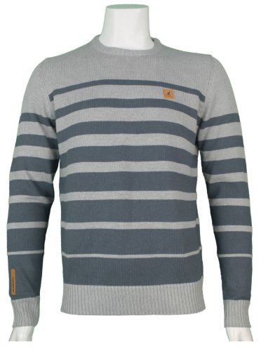 New Kangol Mens Crew Neck Knitted Jumper, In Grey Marl With Slate Stripe Size XX-Large - Style Antwerp - K604381