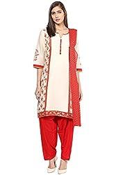 Trishaa by Pantaloons Women's Straight Salwar Kurta Dupatta ( 205000005644954, White, Small)