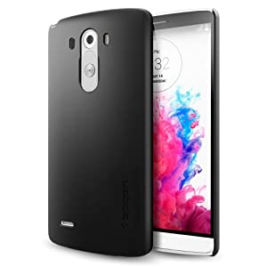 LG G3 Case, Spigen® [Non-Slip] [+Screen Shield] LG G3 Case [Ultra Fit] [Smooth Black] Premium Non-Slip Rubbery Surface (SF Coated) Matte Hard Case for LG G3 (2014) - ECO-Friendly Packaging - Smooth Black (SGP10859)