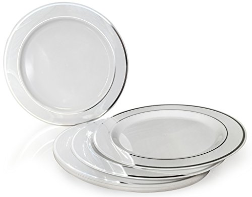 """""""OCCASIONS"""" Disposable Plastic Plates – White w/ Silver trim (20 items, nine"""" luncheon plate)"""