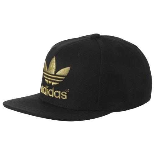 adidas Herren Kappe Adicolor Trefoil Flat, Black/Matte Gold/Metallic Gold, One size, F77234