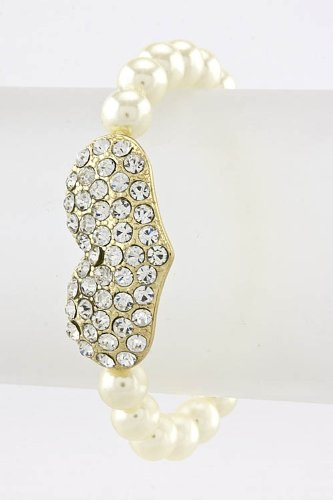 Baubles & Co Rhinestone Heart Pearl Bracelet (Ivory/Gold) front-974644