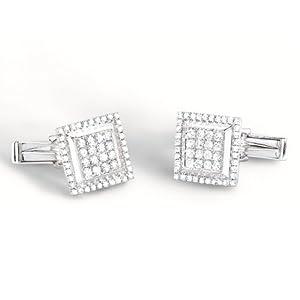 1.35ct 14k White Gold Diamond Cuff Links