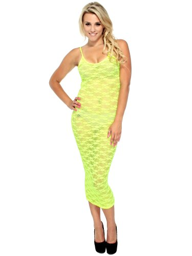 Simplicity Sheer Neon Floral Swim Cover Lingerie Maxi - Made In Usa, Yellow, S