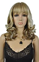Qiyun Women's Medium Long Silver Brown Wavy Curly Sythetic Hair Full Wig by Qiyun
