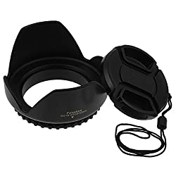 Fotodiox Type 2 Flower Lens Hood with Front filter thread 58mm, Black Sun Shade, Paddle Hood, Tulip Hood fits Canon Rebel xt, xti, xs, xsi t1i, t2i,t3, T3i, T4, T4i, 300D, 350D, 400D, 450D, 500d, 550D, 600D,1000d, 1100d with 18-55mm, 55-200mm EF-S Kit Lens, replaces EW-60C, *Free* Front Cap