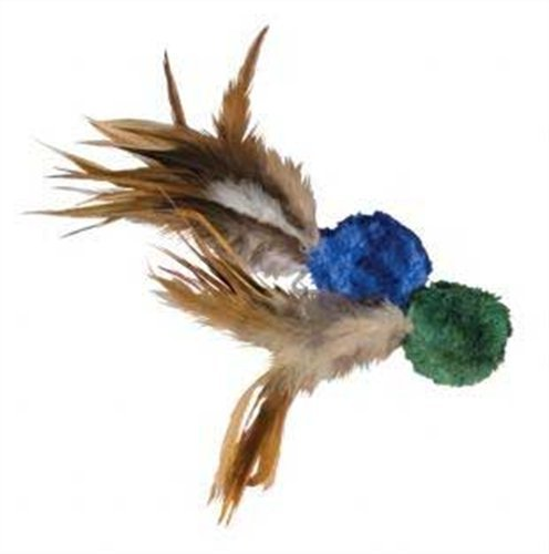 KONG Naturals Crinkle Ball with Feathers Cat Toy,