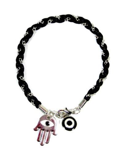 Black Hamsa Evil Eye Bracelet Chain Linked Hand of Miriam Nazar Friendship Braided Judaica Amulet Karma Fashion Jewelry