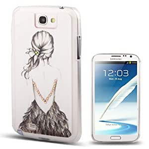 Sexy Girl Pattern Diamond Encrusted Plastic Case for Samsung Galaxy Note 2 N7100