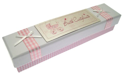 White Cotton Cards Baby Birth Certificate Box (Pink Pram, Bliss Range) front-1037631