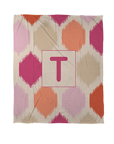 Thumbprintz Coral Fleece Throw, 30 By 40-Inch, Monogrammed Letter T, Pink Batik front-446696