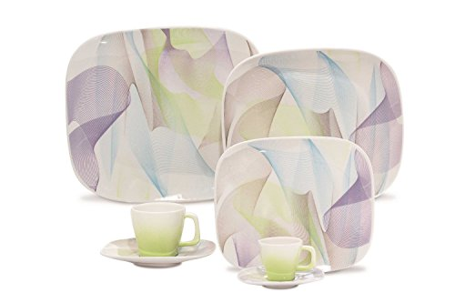 Karim Rashid Dinnerware Porcelain 20-Piece Dinner/Espresso Set, Fusion, White