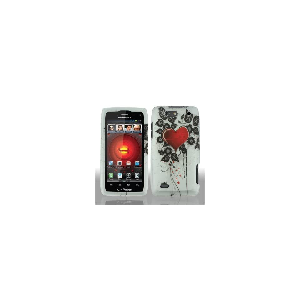 Motorola Droid 4 IV XT894 XT 894 White with Red Love Heart Black Flower Leaves Design Rubber Feel Snap On Hard Protective Cover Case Cell Phone