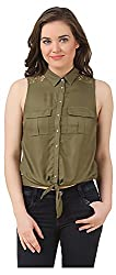 Fem&Her Women's Button Front Shirt (PP12, Green, 38)