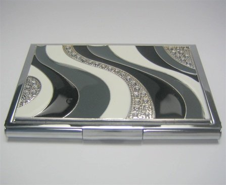 Black Crystal Wave Business Card Case : ID Wallet Holder