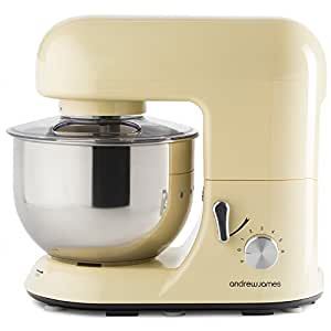 Andrew James 1300 Watt Electric Food Stand Mixer In Classic Cream, Includes 2 Year Warranty, Splash Guard, 5.2 Litre Bowl, And Spatula