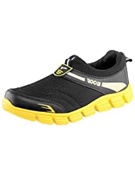 Rocks Black & Yellow Mesh Sports Shoes For Men