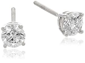 IGI Certified 18k White Gold Round-Cut 4-Prong Diamond Studs (3/4 cttw, H-I Color, SI1-SI2 Clarity)