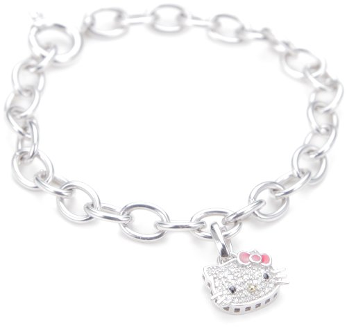 "Hello Kitty ""Sweet Statements"" Diamond and Sterling Silver Charm Bracelet,7″"