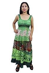 Indiatrendzs Women Dresses Cotton Green Printed Casual Maxi Dress