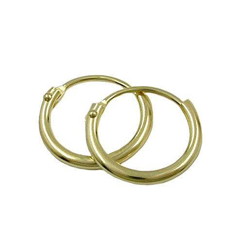 zarte goldene Creolen gold 375 Kreolen Ohrringe Creole, 12mm glänzend 9 Kt GOLD